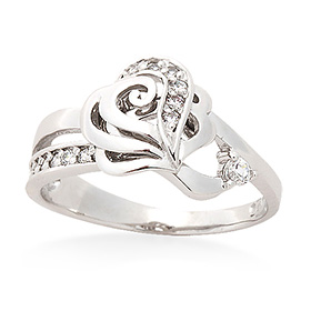 Silver Heart Rose Silver Ring