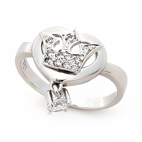 Silver Heart Queen Silver Ring