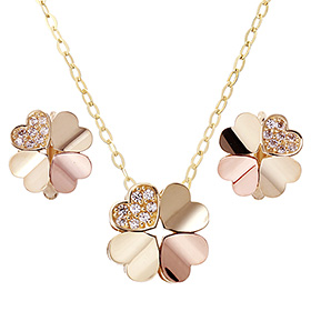 14K / 18K Heart Clover set [overnightdelivery]