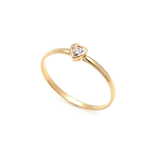 14K / 18K Simple Heart Cubic Women's Ring