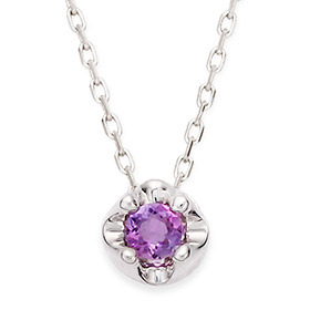 February Birthstone 3mm naturalamethyst tiara Necklace