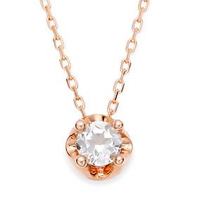 April Birthstone 4mm Natural White Topaz Tiara Necklace
