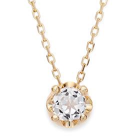 April Birthstone 5mm Natural White Topaz Tiara Necklace