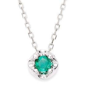May Birthstone 3mm Natural Emerald Tiara Necklace