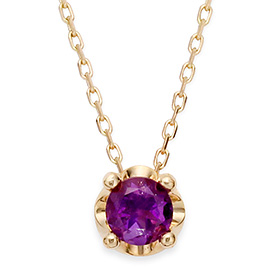 February birthstone 5mm naturalamethyst tiara Necklace