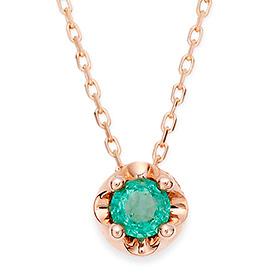May Birthstone 4mm Natural Emerald Tiara Necklace