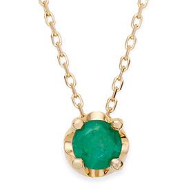 May Birthstone 5mm Natural Emerald Tiara Necklace