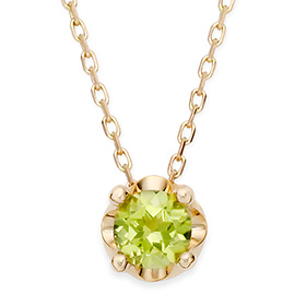 August birthstone 5mm naturalperidot tiara Necklace