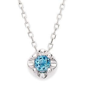 November Birthstone 3mm Natural Blue Topaz Tiara Necklace