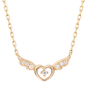 14K Heart Angel Integral Necklace