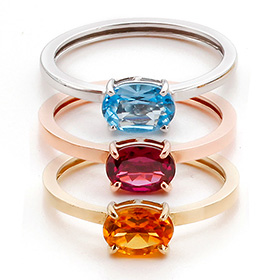 14K / 18K Natural Jewel Oval Gem Gold Ring
