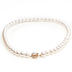 8mm Freshwater Pearl 14k Cutting Cutting Flower Necklace
