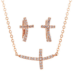 14K / 18K sexy cross set [Necklace + earring]