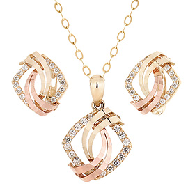 14K / 18K Dance Square set [Necklace + earring]