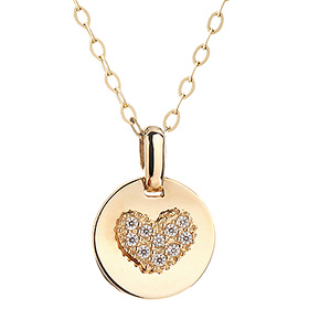 14K Heart Fan Necklace