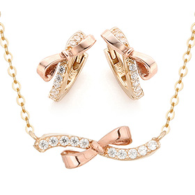 14K / 18K Cutaway Ribbon Set [Necklace + earring]