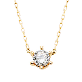 "<b><font color=""008997"" >[Part 2 Modern Emotions]</font></b> <br> 14K / 18K Princess Natural Diamond Integrated Necklace"