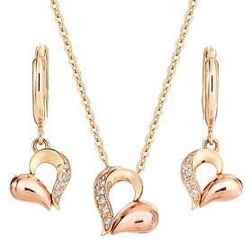 14K / 18K Heart Droplet set [Necklace + earring] [overnightdelivery]