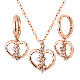 14K / 18K Heart Seed set [Necklace + earring] [overnightdelivery]