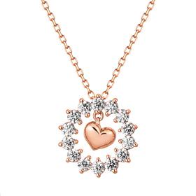 14K / 18K Snow Flower Heart Necklace [overnightdelivery]