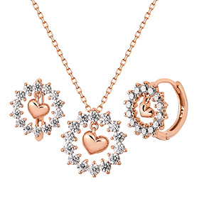 14K / 18K snow heart set [Necklace + earring] [overnightdelivery]