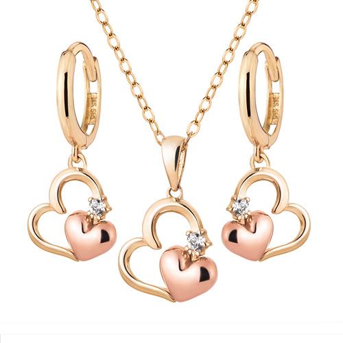14K / 18K Heart Sweet set [Necklace + earring] [overnightdelivery]