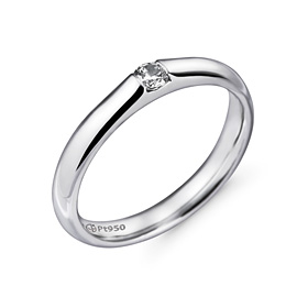 Platinum [Pt950] 3.0mm 1 part [modern] diamond Volume not rolled platinum ring