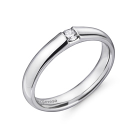 Platinum [Pt950] 3.5mm 1 part [modern] diamond Volume not rolled platinum ring