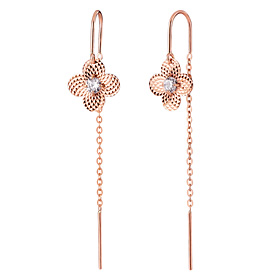 14K / 18K mirror flower long earring [overnightdelivery]