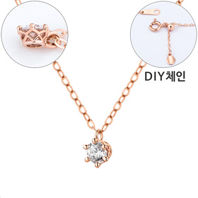 "<b><font color=""b400b0"" >[Part 1 Contemporary Emotion]</font></b> <br> 14K / 18K Circle Crown Part 1 diamond Necklace [DIYchain] [overnightdelivery]"