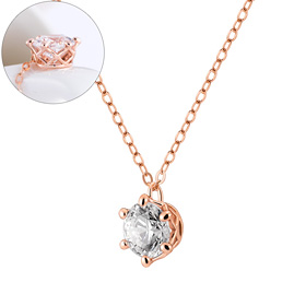 14K / 18K Circle Crown 1carat swarovski Necklace
