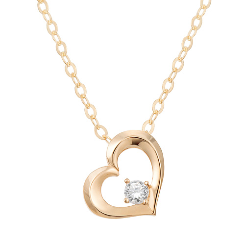 "<b><font color=""b400b0"" >[Part 1 Contemporary Emotion]</font></b> <br> 14K18K Love in Heart 1 part diamond necklace [overnightdelivery]"