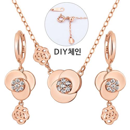14K / 18K Twin Rose set [Necklace + earring]