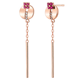 14K / 18K Bijou Circle Long Earrings