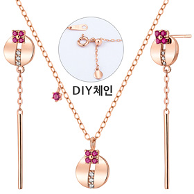14K / 18K Bijou circle set [Necklace + earring]