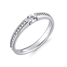 Platinum [Pt950] Florence 3 Part CZ Platinum Ring