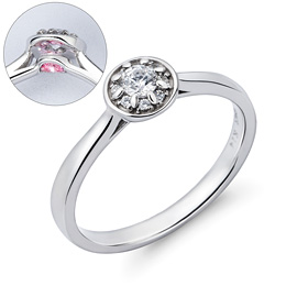 14K / 18K Circle Snow Wedding Ring [swarovski]