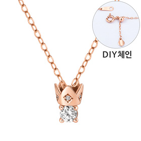 "<b><font color=""b400b0"" >[Part 1 Contemporary Emotion]</font></b> <br> 14K / 18K mini crown part diamond necklace [DIYchain]"