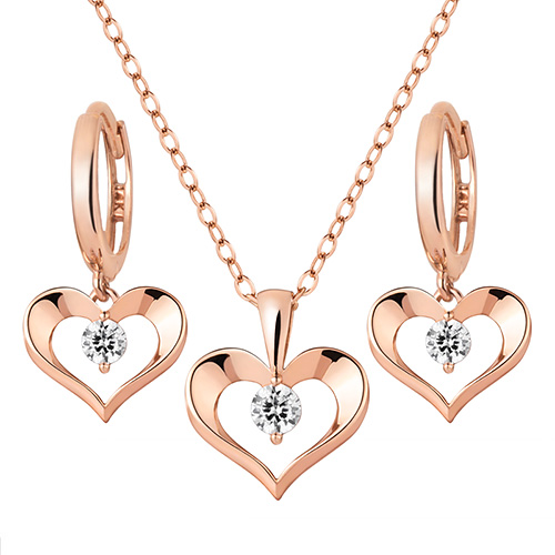 14K / 18K Heart way set [Necklace + earring] [overnightdelivery]