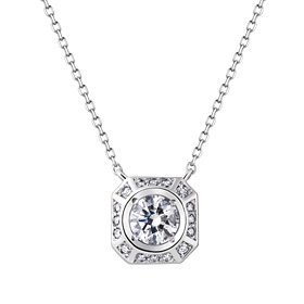 Platinum [Pt950] Room Square Part 3 CZ Platinum Necklace [overnightdelivery]