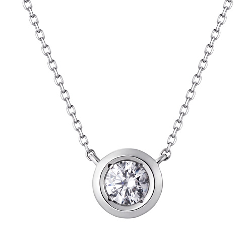 Platinum [Pt950] Groove Circle Part 3 CZ Platinum Necklace [overnightdelivery]