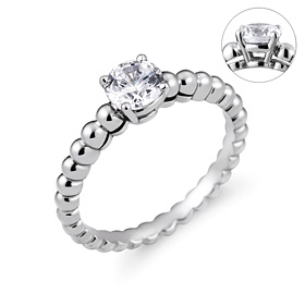 Platinum [Pt950] Bubble Dew Part 5 CZ Platinum Ring