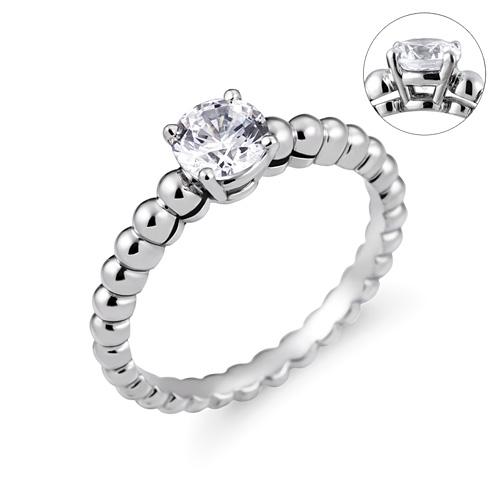 Platinum [Pt950] Bubble Dew Part 5 CZ Platinum Ring