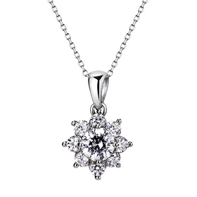 Platinum [Pt950] Gardania 5 parts CZ platinum necklace [overnightdelivery]
