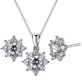 Platinum [Pt950] Gardania 5 pieces CZ Platinum set [Necklace + earring] [overnightdelivery]