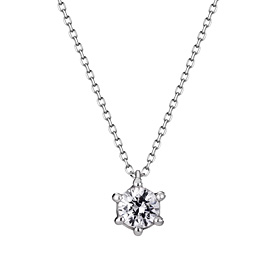 Platinum [Pt950] Circle Crown 1 CZ Platinum Necklace [overnightdelivery]