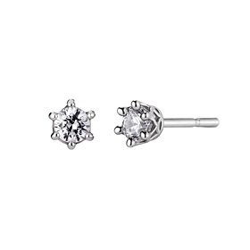 Platinum [Pt950] Circle Crown 1 CZ Platinum Earring [overnightdelivery]