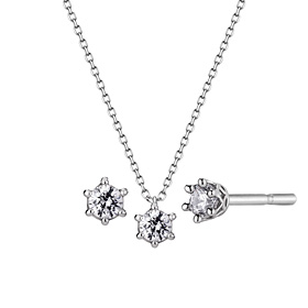 Platinum [Pt950] Circle Crown 1 CZ Platinum Set [Necklace + earring] [overnightdelivery]