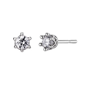 Platinum [Pt950] Circle Crown 3 pieces CZ Platinum Earring [overnightdelivery]
