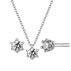 Platinum [Pt950] Circle Crown Part 3 CZ Platinum Set [Necklace + earring] [overnightdelivery]